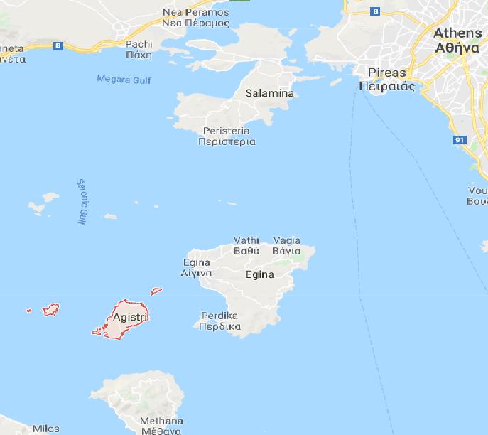 Map of Saronic gulf